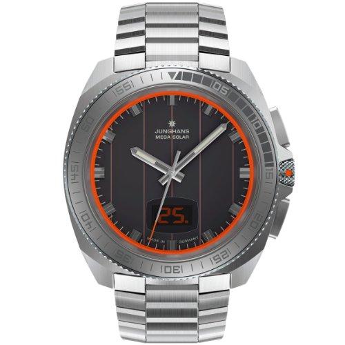 Junghans Herren-Armbanduhr XL 1972 Mega Solar Analog Quarz Edelstahl 056/4211.44
