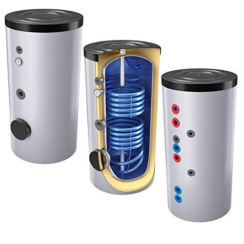 400 Liter emaillierter Solarspeicher / Warmwasserspeicher / Trinkwasserspeicher, mit 2 Wärmetauschern, inkl. Isolierung, Magnesiumanoden und Thermometer