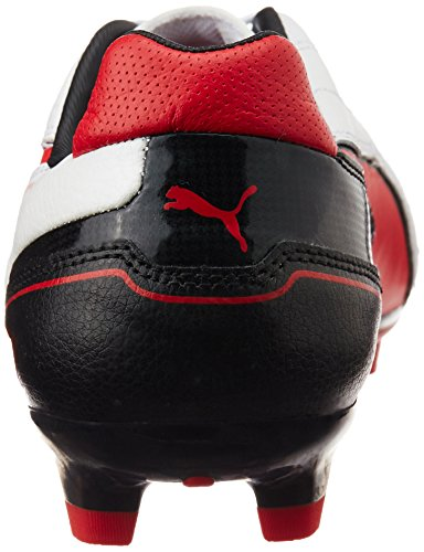 Puma Momentta Fg, Chaussures de football homme metallic white-high risk red-black