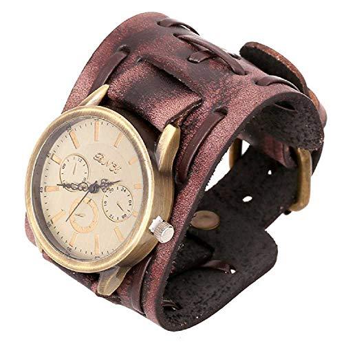 WSSVAN Reloj de los Hombres Reloj de Pulsera de Cuero de la Vendimia de los Hombres Estilo de la Personalidad Estilo Punk Viento Gran Brazalete Ancho de Cuero Brazaletes Reloj de Cuero (marrón)
