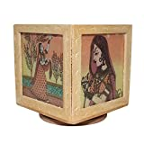 Ranvijay Multicolour Revolving Rajasthani Painting 3 Compartments Wooden Pen Stand (10cm x 9cm x 9cm)
