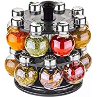 RUBBY Multipurpose Plastic Big Revolving Spice Rack 16 in 1 / Masala Rack Set/Condiment Set/Spice Container