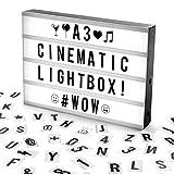 Cosi Home™ - A3 Lightbox, Lichtbox, Leuchtkasten mit 120 Buchstaben, Emojis und Symbolen, zum individuellen Gestalten Ihrer eigenen Nachrichten, Kino-Design, Stromversorgung über Batterie oder USB