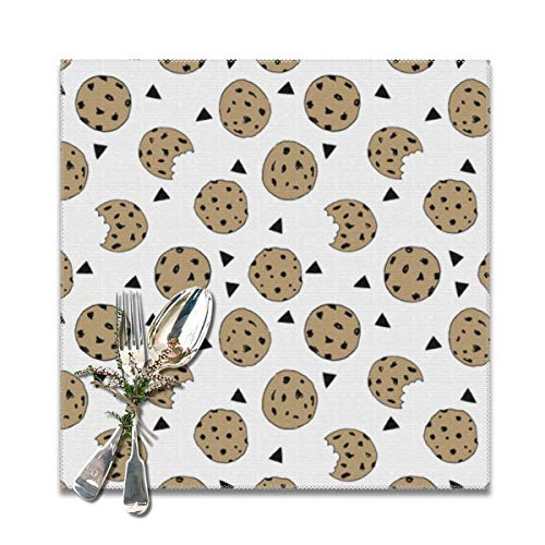 Cookies Food Chocolate chip Biscuits Placemats for Dining Table,Washable Placemat Set of 6, 12x12 inches