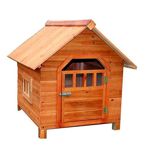 LDFN Doghouse Indoor Und Outdoor Allgemeine Massivholz Doghouse Regen Kennzeichen Umwelt Tanne Katzen Nest Haustier Haus ,Brown-56*45*48cm
