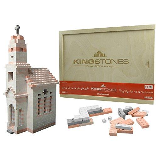 KINGSTONES Basiskasten gemischt - Steinbaukasten aus Marmormehl 350 Teile Stein-Konstruktionsset