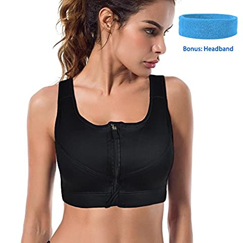 Sport-BH, Shinymod Laufen BH Front Zipper Push Up Kompression Stoßdämpfer BH Ultimate Comfort Unterstützung Stretch-Aktion Soft Wide Strap Bounce Control High Impact Yoga Fitness Übung BH