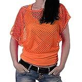 Damen Spitze Tank Top - Netztop - Netzshirt - Fledermaus Tops - Doppel-Look Netz - Cowl Neck - 2 in 1 Look - Neon Orange