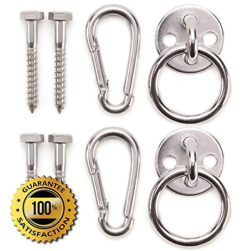 Medium image of premium hammock hooks by amerigo   best hanging kit for inside relaxation   heavy duty   set of round pad eyes spring snap hooks and lag screws made from