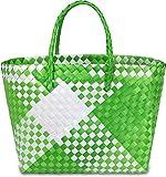 normani Einkaufstasche geflochten mit Henkeln - Tragetasche extra robust Farbe Retro Block/Green