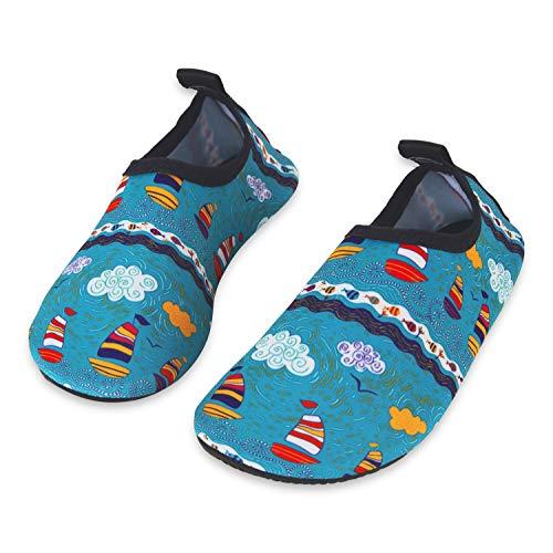 Kinder Badeschuhe Wasserschuhe Strandschuhe Schwimmschuhe Aquaschuhe Surfschuhe Barfuss Schuh für Jungen Mädchen Kleinkind Beach Pool(Grün 24 25)