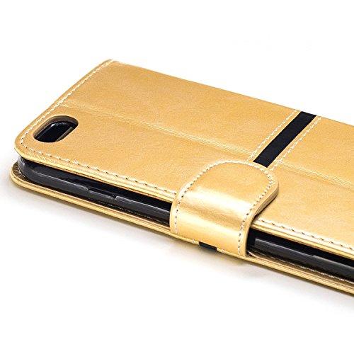 EKINHUI Case Cover IPhone 6 Plus Fall-Abdeckung, erstklassiger PU-lederner horizontaler Schlag-Standplatz-Fall mit Halter u. Wallet u. Karten-Schlitz u. Foto-Rahmen für Apple IPhone 6 plus 5.5 Zoll (  Gold