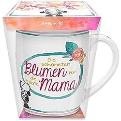 """Sheepworld 44568 Tasse mit Motivdruck """"Die schönsten Blumen für die tollste Mama!"""", Porzellan, in PET-Geschenkbox"""