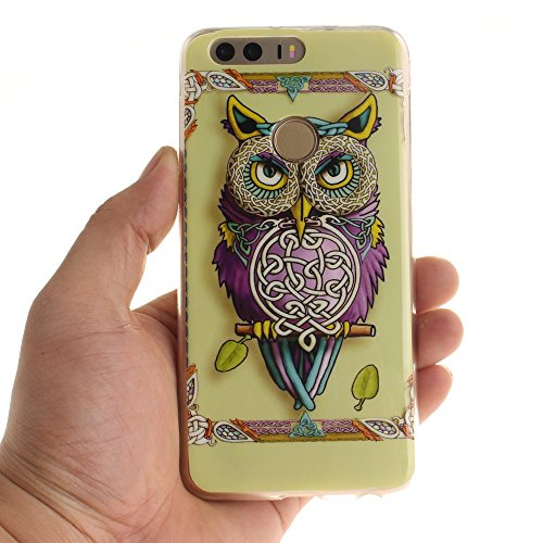 Huawei Honor 8 Coque,BLKJ Huawei Honor 8 Housse Etui TPU Silicone Clair Ultra Mince Anti-Scratch Back Case Cover pour Honor 8 - 1 Gratuit Touch Pen (Wind chime in Black) Colorful Owl