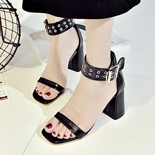 RUGAI-UE La fibbia sandali donna estate tacco High-Heeled tacco Scarpe scarpe Thwomen Black