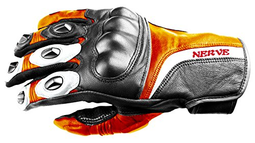 Nerve Guantes Moto de Cuero KQ11, Negro/Naranja Neón, 11