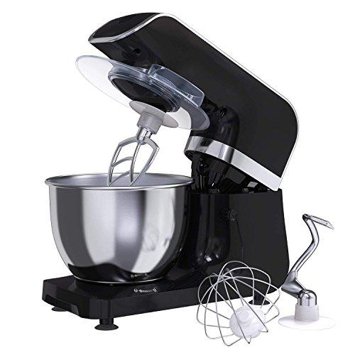 Amasadora Batidora MLITER, Robot de Cocina, 800W, con Bol de 4.0L, Gancho para Masa, Batidora, Protector contra Salpicaduras, Panel de Control Digital, 6 Velocidades, Ajuste de tiempo, Color Negro