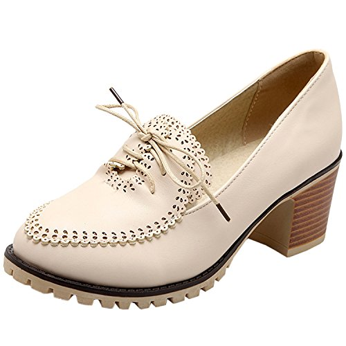 Oasap Women's Round Toe Lace-up Chunky Heels Pumps Beige