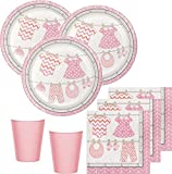 48 Teile Baby Party in Rosa Babyshower Set für 16 Personen