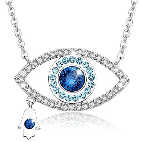 MEGA CREATIVE JEWELRY Collana da Donna Gioielli con Cristallo Swarovski Occhio Blu Mano di Hamsa