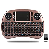 HORIZONTAL Mini 2.4Ghz Touchpad teclado inalámbrico con ratón para Google Android Tv Box, Pc, Pad, Xbox 360, PS3, Htpc, Iptv (Oro Rosa)