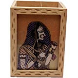 A Wooden Pen Stand with Original Gemstone Painting Depicting Indian Traditional Rajasthani Woman Art