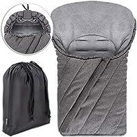 Zamboo - Saco Universal DELUXE para Maxicosi / Portabebés | Saco de invierno con forro polar térmico para Silla de coche bebé, con capucha y bolsa - color gris jaspeado