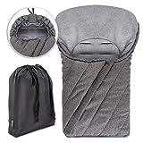 Universal Fußsack für Babyschale/Maxi-Cosi - Winterfußsack mit weichem Deluxe Thermo Fleece, warme Mumien Kapuze, Tasche | Melange Grau