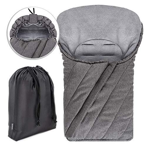 Zamboo Fußsack für Babyschale (passend für Maxi-Cosi, Cybex, Recaro) - Winterfußsack mit weichem Deluxe Thermo Fleece, warme Mumien Kapuze, Tasche - Melange Grau