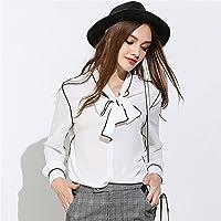 Señoras de moda para otoño - invierno nieve Camisa Blusa mujer Bow - tie Sweater,Blanco,XL