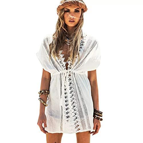 Lazzon Strandkleid Damen Baumwolle Bademode Elegant Bikini Cover Up V-Ausschnitt