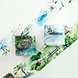 JSGDJD Klebeband 2 Stk./Pack 4 cm Breit der Pavillon im Winter Sommer Landschaft Washi Tape Klebeband DIY Scrapbooking Sticker Label Abdeckband - 2 Stk./Pack