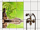 creatisto Badsticker, Bad-Fliesen | Fliesensticker Aufkleber Folie Bad Küche Fliesenmotiv Badezimmer-Deko | 20x25 cm Design Motiv Buddha Zen - 9 Stück
