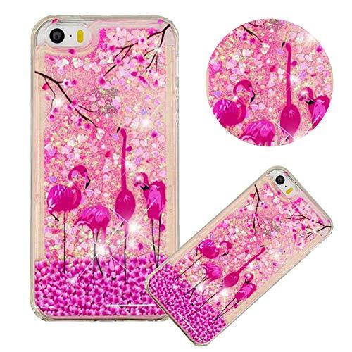 Glitzer Hülle für iPhone SE,Flüssigkeit Silikon HandyHülle für iPhone 5S,Moiky Luxuriös Mode Flamingo Blume Muster Liebe Herzen Treibsand Pailletten Diamant Flexible Weich Gummi Hülle - Flüssigkeit Blumen