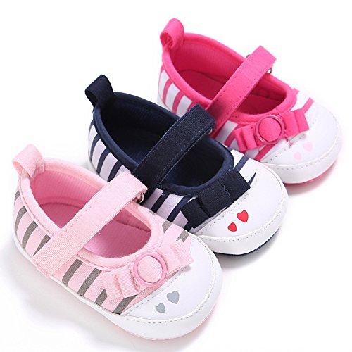 Chaussures de randonnée confortable pour bébés Chaussures en tissu antidérapant et doux avec motif à rayures à la mode pour 0 à 18 mois Bébés filles (Rosé, M) Roseo