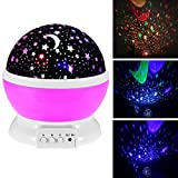 Star Projector Night Light for Kids 360 Degree Rotation Flashing Starry Star Moon Lamp Projection for Kids Children Bedroom Wall Decor