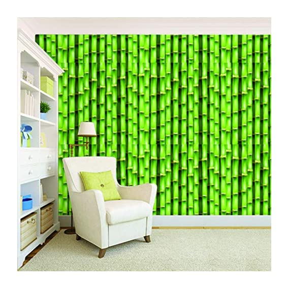 100Yellow? 3D Design Printed Peel And Vinyl Stick Wall Paper (Self Adhesive) For Home Decor (Green, 44 Sqft)