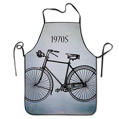 DDOBY Unisex 1970er Jahre Bike personalisierte lustige tolles Zuhause Geschenk für Henne BBQ Cook Chef Schürze Kochen professionelle Erwachsene Lätzchen Geschenke (1970er Jahren Kleidung Für Frauen)