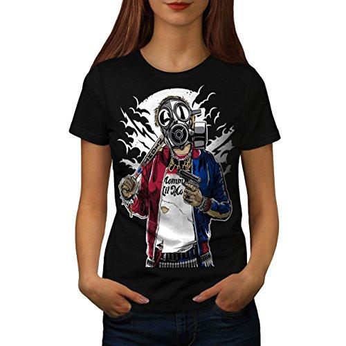 Straße Gewehr Krieg Gangster Damen M T-shirt | (Maschine Kostüm Ein Krieg)