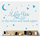 LOVE Quotes Wall Decor Wall Art I LOVE YOU To The Moon And Back Black Words Wall Sayings Quotes Easy Apply Wall Sticker Wall Art for Children Bedroom Baby Nursery Home Decor -blue by Rondaful