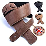 British Handmade Real Leather Guitar Strap: Finest Ultra Soft Italian Nappa Leather, 130cm long Foam Cushion Padded Guitar Belt - Suits Electric, Bass or Acoustic Instruments (inc Semi/Electro)