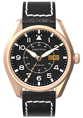 Grayton Harrier Men's Quartz Watch with Black Dial Analogue Display and Black Leather Strap GR-0014-005.3
