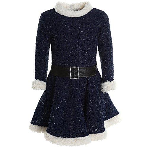Mädchen Kinder Spitze Winter Kleid Peticoatkleid Festkleid Lang Arm Kostüm 20785, Farbe:Blau;Größe:116