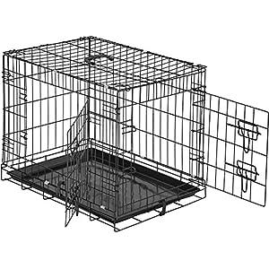 TecTake Cage de transport pour chien box grillagé | 2 grandes portes équipées de verrous | Pliant | (LxlxH) : 60 x 44 x 51 cm
