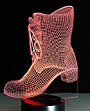 3D Night Light 3D Shoes Boot Led Night Light Desk Lamp Controller Battery...