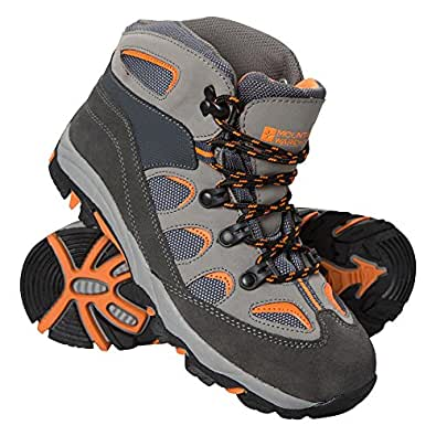 Mountain Warehouse Oscar Kids Walking Boots - Suede Kids Walking Boots With Padded Ankle, Mesh Tongue, Durable & Hard-Wearing Outsole Charcoal 1 Child UK