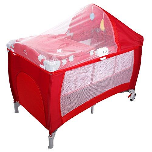 Preisvergleich Produktbild COSTWAY Babybett Reisebett Klappbett Babyreisebett Kinderbett Kinderreisebett Laufstall + Wickelauflage mit Schaukelfunktion (rot)