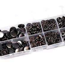 100 Automáticos en Negro de 15mm con Herramientas de Fijación bonton a Presión para Manualidades de Cuero