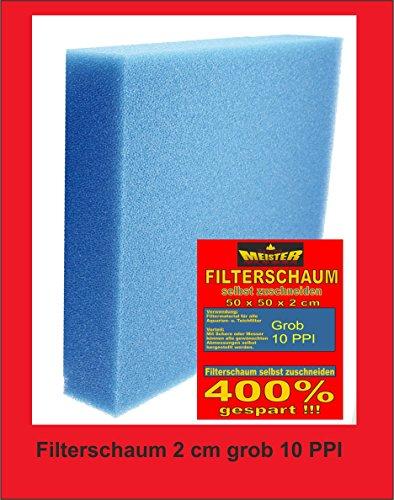 sahawa 40204Mousse filtrante large 50x 50x 2cm, 10PPI, plaque Filtre Bleu, aquarium, Filtre Filtre de bassin, Accessoires