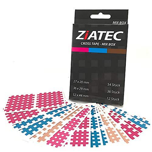Ziatec Cross-Tapes mit 102, 204 & 306 Pflaster, Gittertapes, Akupunktur-Pflaster mit Gitternetzstruktur, Physio-Tape, Farbe:Mix - 102 Stück, Größe:Uni-Box